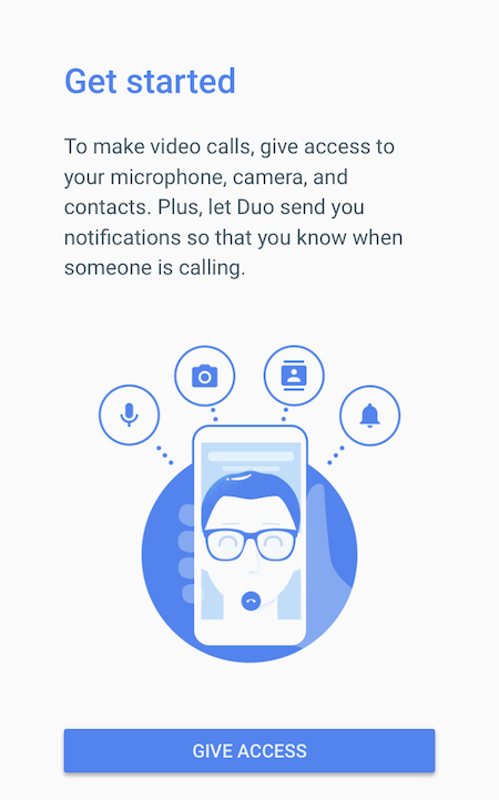Google Duo - Give Access Screen